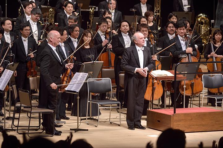 マレク・ヤノフスキ、ライナー・キュッヒル、NHK交響楽団 東京・春・音楽祭2015《ワルキューレ》より  C)青柳聡