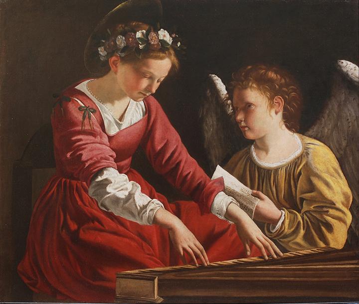 カラヴァッジョの画法を模倣し継承した同時代及び次世代の画家たち、カラヴァジェスキ。オラツィオ・ジェンティレスキも、カラヴァッジオから大きな影響を受けた画家のひとりとみなされている。 オラツィオ・ジェンティレスキ 《スピネットを弾く聖カエキリア》 1618-21 年、油彩/カンヴァス、93×106cm、ペルージャ、ウンブリア国立 美術館 Per gentile concessione della Galleria Nazionale dell'Umbria