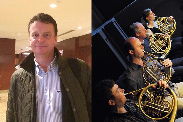 左)フォルクスオーパー交響楽団の代表、トロンボーン奏者ペーター・ガラウン氏