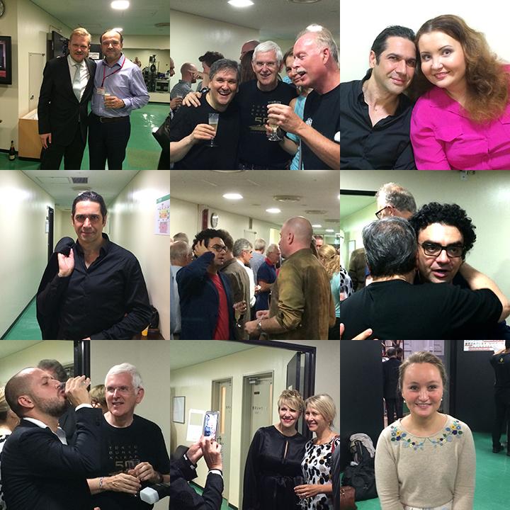上段左) 《ドン・ジョヴァンニ》の演出家カスパー・ホルテン(左)と合唱監督レナート・バルサドンナ 上段中) マエストロ・パッパーノも笑顔でシャンパンを手にスタッフと。 上段右) イルデブランド・ダルカンジェロとアルビナ・シャギムラトヴァ。 舞台裏のドン・ジョヴァンニとドンナ・アンナ?!  中段左) ダンディな素顔のイルデブランド・ダルカンジェロ 中段中) 「今日の舞台は・・」なんて話していそうなローランド・ヴィラゾンとライモンド・アチェト 中段右) マエストロとハグして初日を祝うローランド・ヴィラゾン 下段左) シャンパンを飲み干すアレックス・エスポージト 下段中) 写真撮影にも気さくに応じるジョイス・ディドナート 下段右) 愛らしさ満点のユリア・レージネヴァ