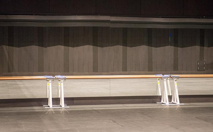 壁の1面がレッスンミラーになっており、レッスンバーを備えるPhoto:M.Terashi/TokyoMDE