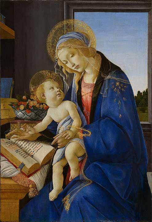 サンドロ・ボッティチェリ 《聖母子(書物の聖母)》 C)Milano, Museo Poldi Pezzoli, Foto Malcangi