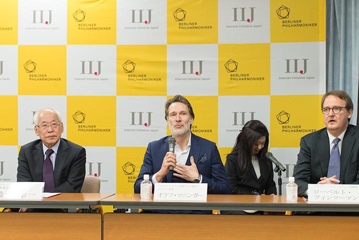 左より)鈴木幸一(株式会社インターネットイニシアティブ代表取締役会長)、オラフ・マニンガー(ベルリン・フィル首席チェロ奏者/メディア代表)、ローベルト・ツィンマーマン(メディア取締役)