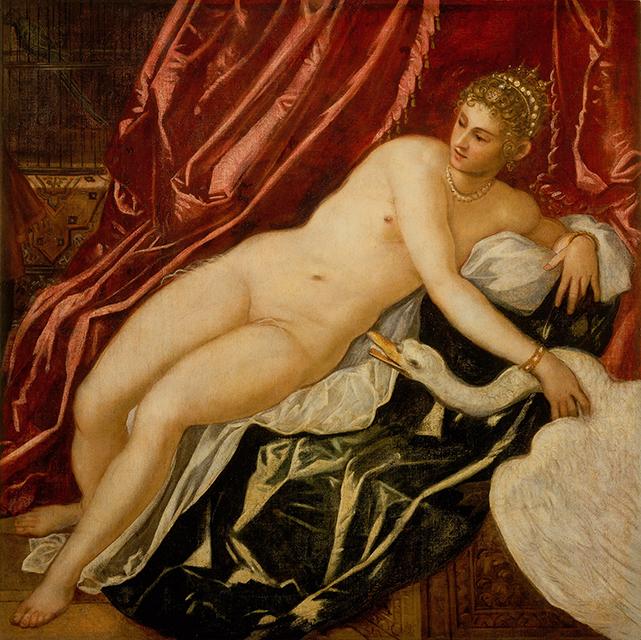 ティントレット《レダと白鳥》 1551-55年頃、油彩、カンヴァス、147.5×147.5cm、フィレンツェ、ウフィツィ美術館 C)2016. Photo Scala, Florence - courtesy of the Ministero Beni e Att.Culturali