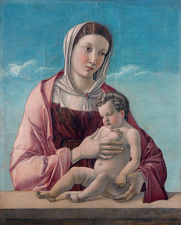 ジョヴァンニ・ベッリーニ 《聖母子(フリッツォーニの聖母)》 1470 年頃、テンペラ、板(19 世紀にカンヴァスに移し替え)52.5×43.2cm、ヴェネツィア、コッレール美術館  C)2016. Photo Archive -Fondazione Musei Civici di Venezia